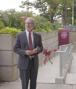 McMaster President Patrick Deane cut the ribbon on the new access ramp. (Photo Credit: Andrew Baulcomb, McMaster Daily News)